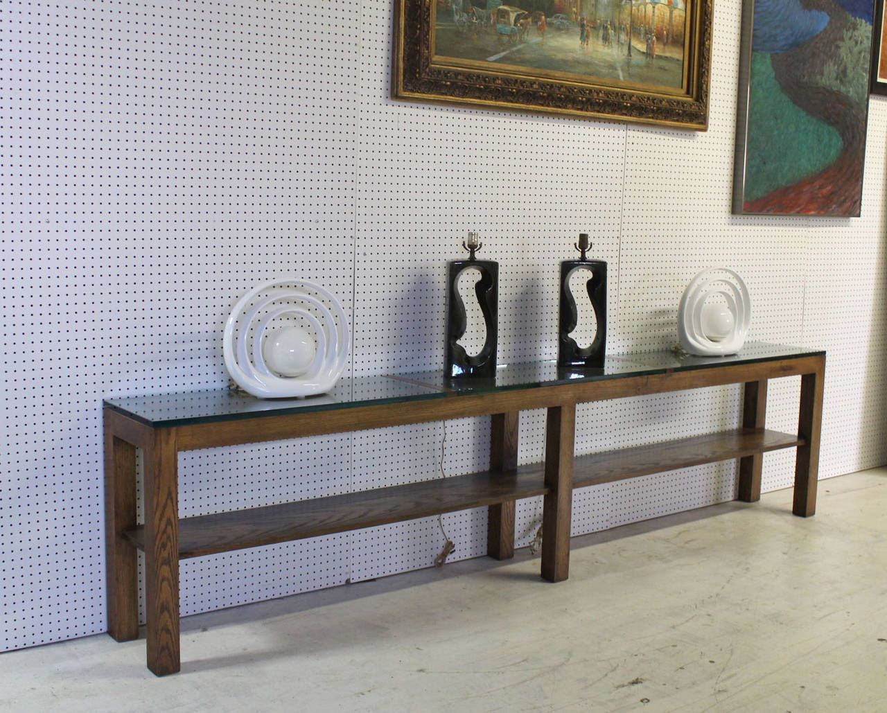 Heavy thick glass top rectangle console table on six square legs extra long heavy console table at 1stdibs geotapseo Choice Image