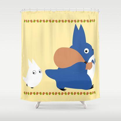 Chu And Chibi Totoro Shower Curtain