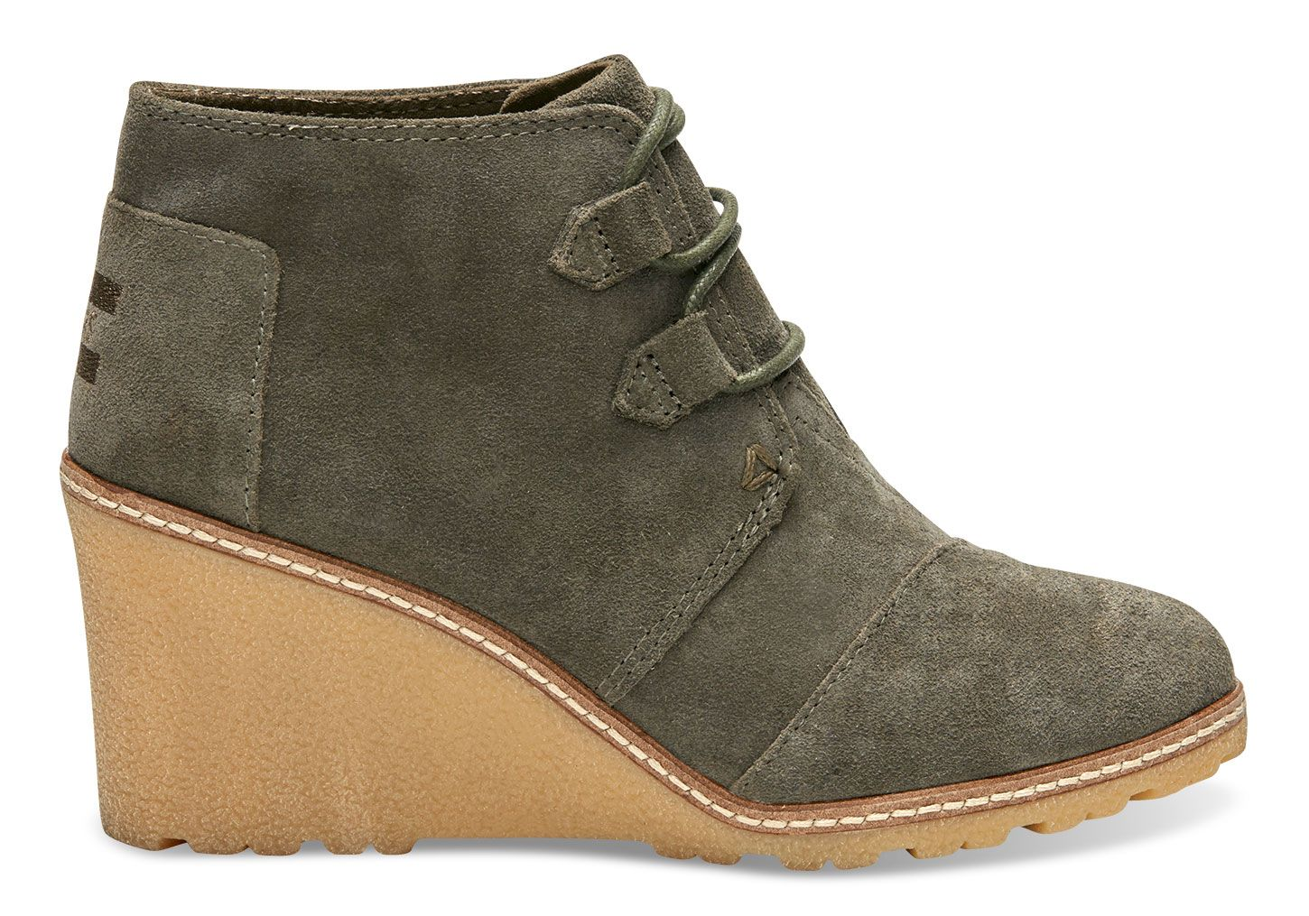 Tarmac Olive Suede and Faux Crepe Wedge Women's Desert Wedge Booties - Size  9 please :