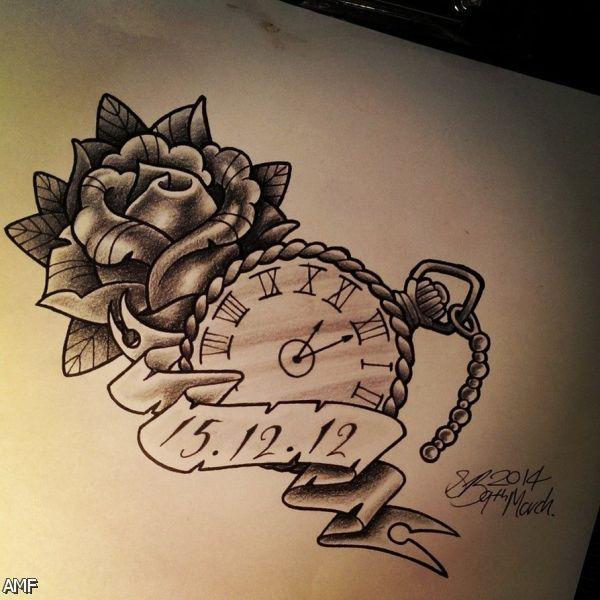 Tattoo rosas simples pesquisa google projetos para for Stop watch tattoos