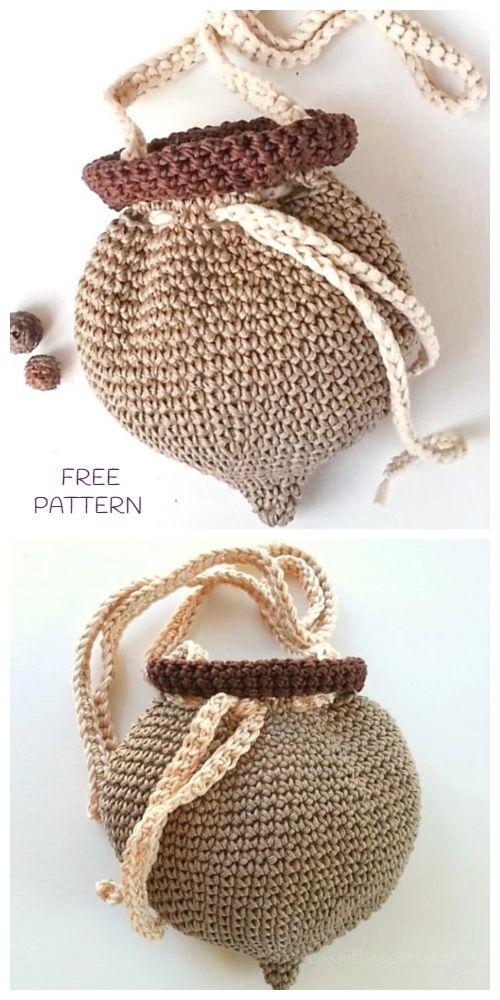 Crochet Little Acorn Project Bag Free Crochet Pattern for Crochet Lovers