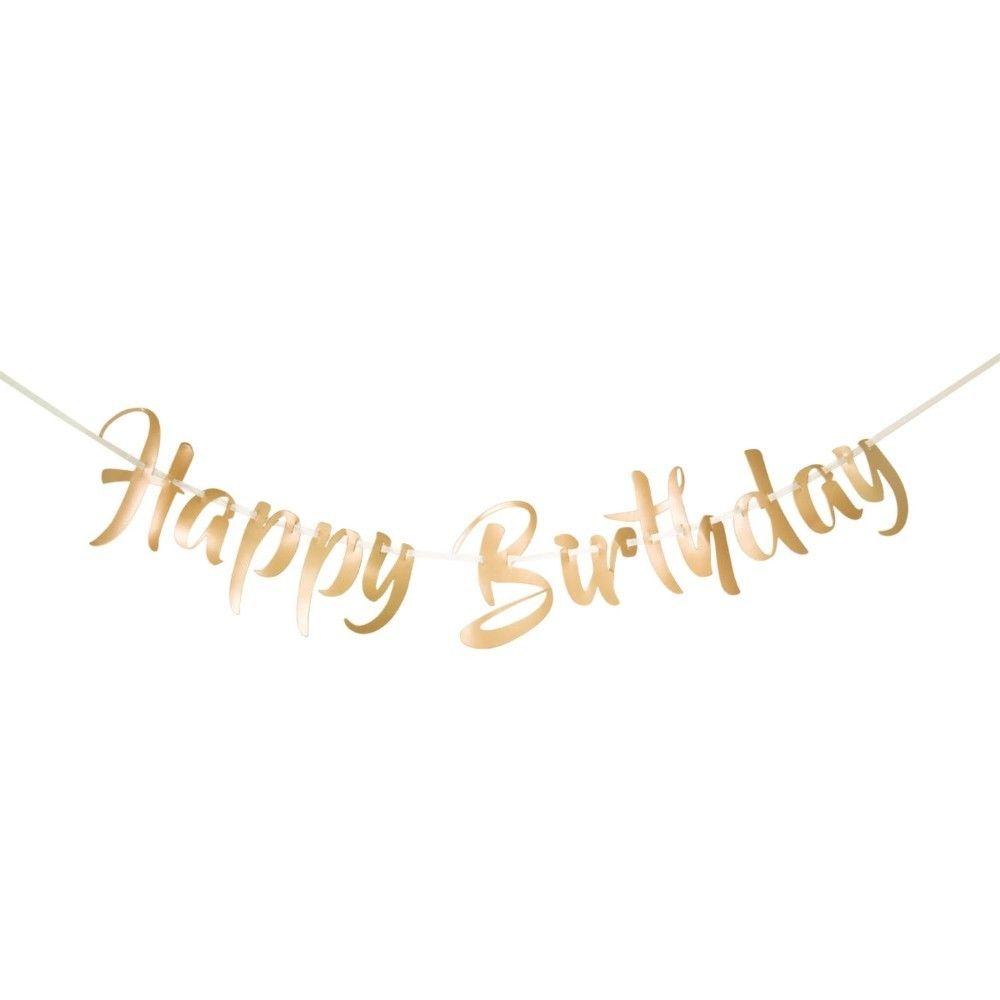 Buchstaben Girlande Geburtstag Happy Birthday Gold 1 M