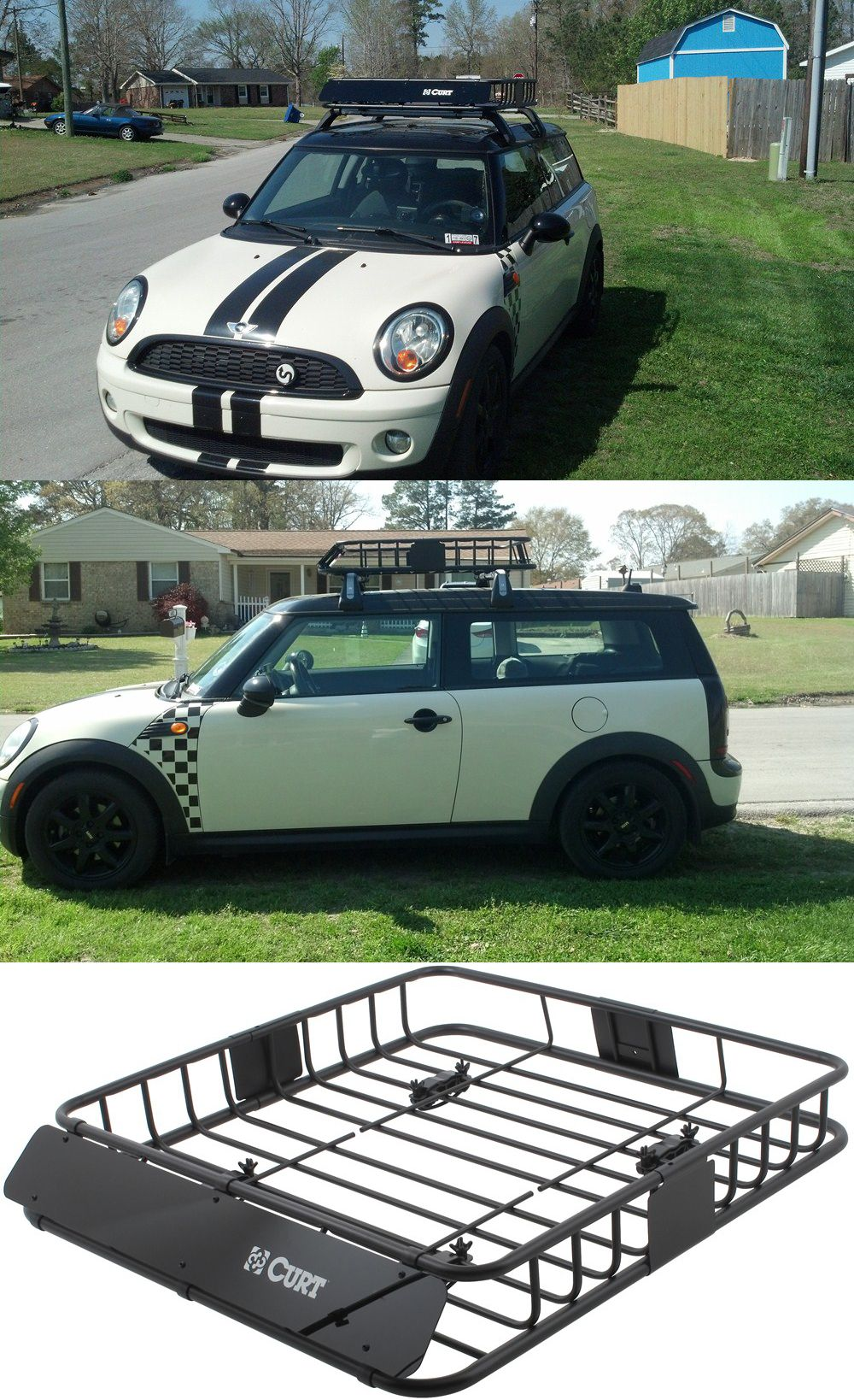 Curt Roof Mounted Cargo Basket 41 1 2 Long X 37 Wide X 4 Deep 150 Lbs Curt Roof Basket C18115 Car Roof Racks Mini Clubman Roof Rack