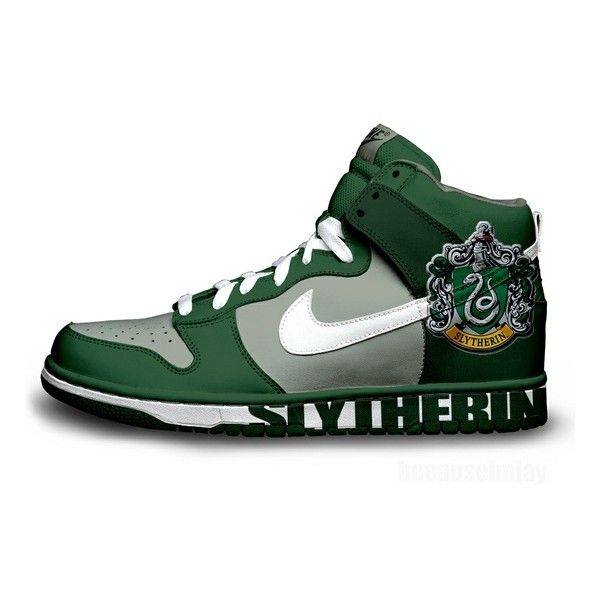 Slytherin Nike Dunks Liked On Polyvore Featuring Shoes Harry Potter Slytherin 19 Shoes Sneakers Nik Harry Potter Shoes Nike Dunks Harry Potter Outfits