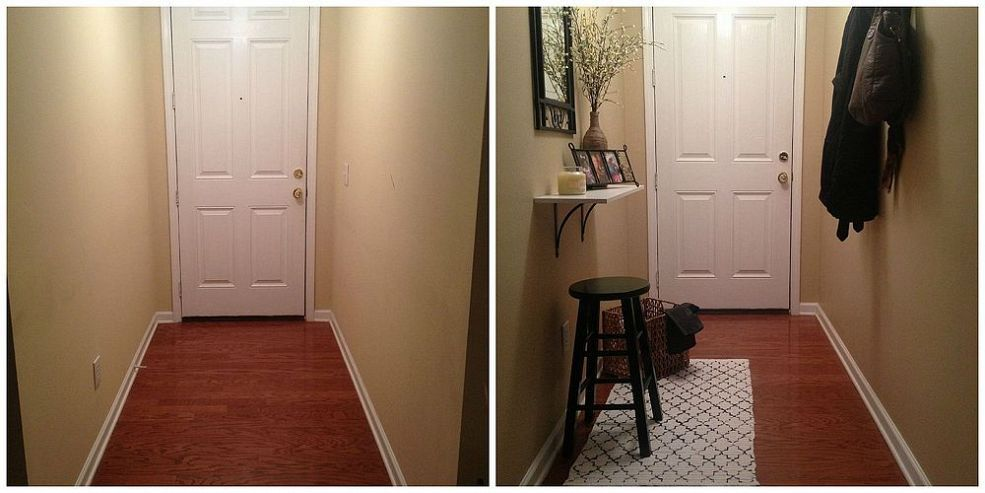 Small And Narrow Entryway Update Narrow Entryway Tiny Entryway Small Entryways #no #entryway #living #room