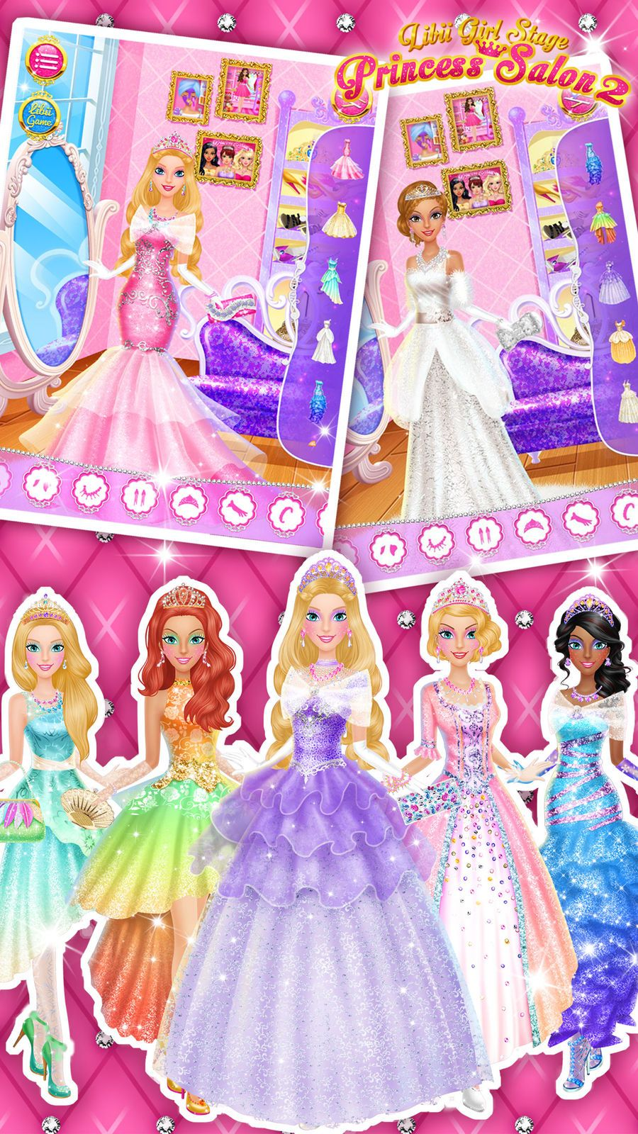 Princess Salon 2 Makeup Dressup Spa And Makeover Girls Beauty Salon Games Libii Games Beauty Family Princess Games Beauty Salon Games Princess