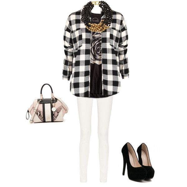 A fashion look from February 2015 featuring rose tops, black checkered shirt and cotton blend pants. Browse and shop related looks.
