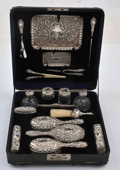 Edwardian silver vanity and dressing set, circa 1901 Vintage