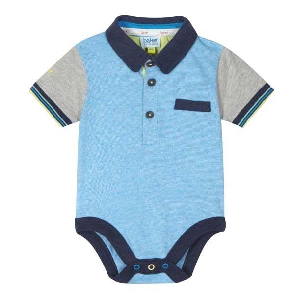 163974f4884faa Ted Baker Baby Boys Vest Romper Bodysuit Polo Blue Designer Logo Gift  Newborn