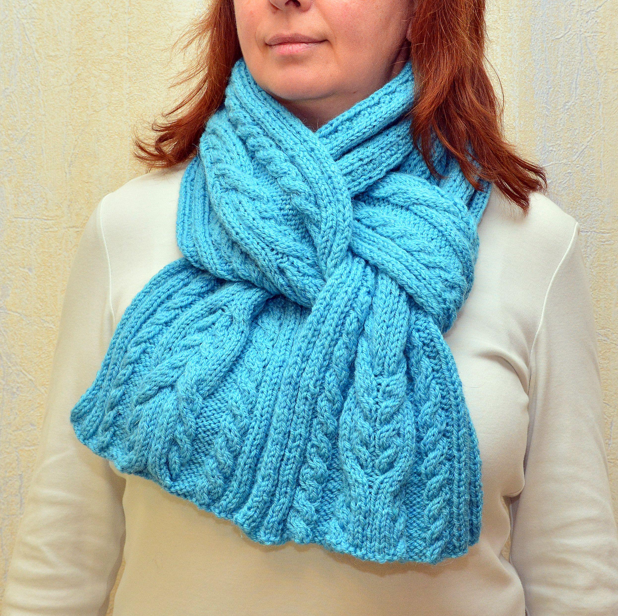 Photo of Kabel keltischer Schal Irischer Aran-Schal Handgestrickter Damenschal Gemütlicher blauer Schal Unisex-Schal Schwestergeschenk