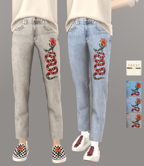 ts2 male set gucci top and jeans gucci sims2