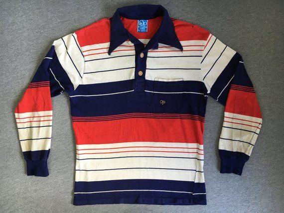 00d13e9c4e Ocean Pacific Shirt 80 s Op Vintage  Sunwear Stripe Wood Buttons Polo  Longsleeve Tee  Red White Blue