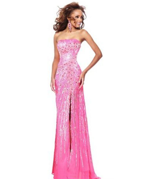 Stunning strapless hot pink sequin prom dress 2015 by Sherri Hill ...