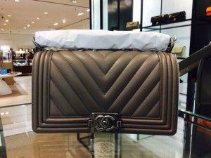 42c4599aff7b56 Chanel Brown Chevron Boy Old Medium Bag | Chanel | Bags, Chanel, Bag ...