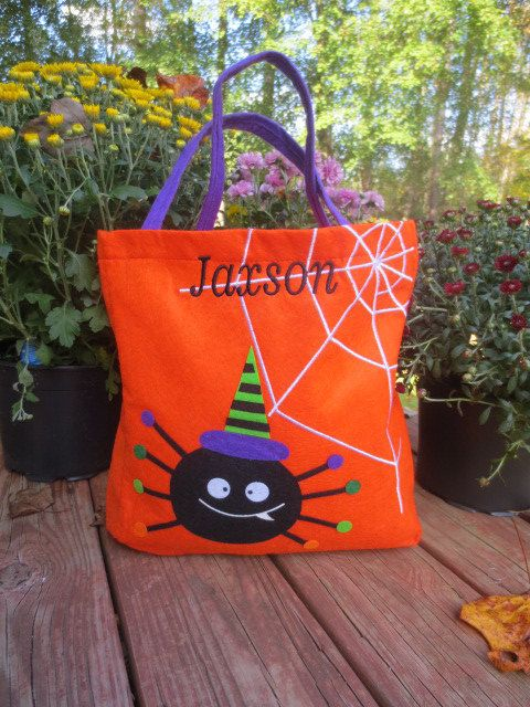 Orange Spider HALLOWEEN tote. Free personalization. Trick or Treat in style. by doodlegirls on Etsy