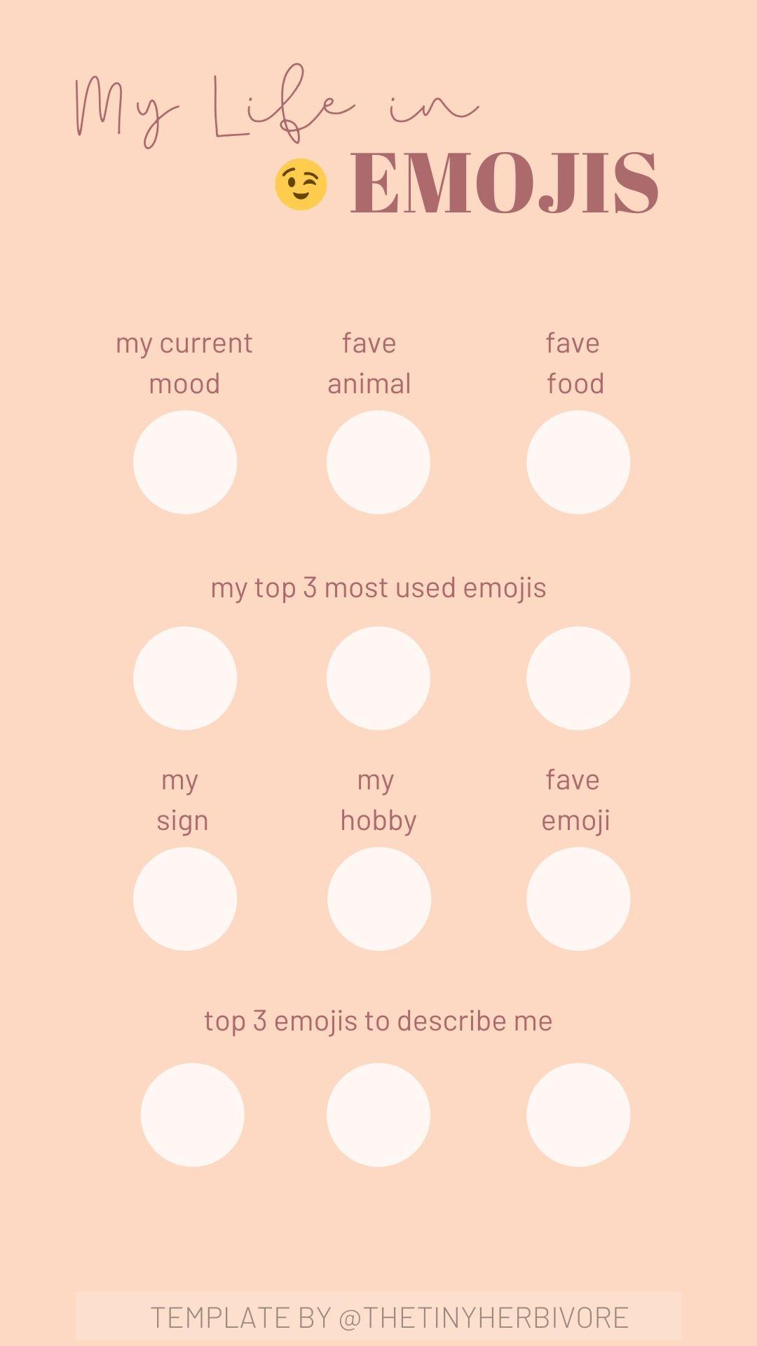 My Life In Emojis Instagram Template In 2020 Instagram Questions This Or That Questions Instagram Template