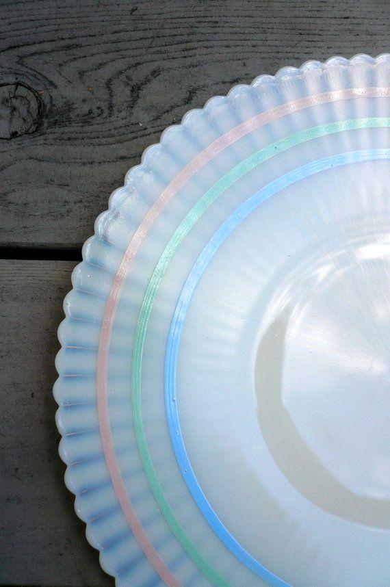 Vintage Pastel Striped Plate