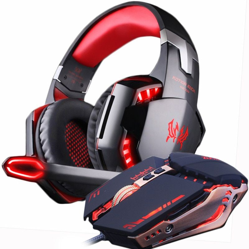 Led Gaming Headset And Mouse Set Gaming Headset Gaming Headphones Headphones With Microphone