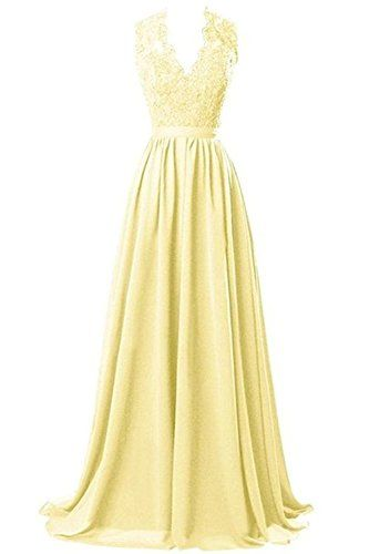 0d12b7b0b88 Nina V-neck Long Chiffon open Back Bridal Prom Evening Dr... https