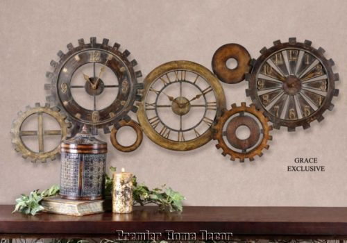 Tuscan Rustic Spare Parts Gear Gallery Wall Clock   Premier Home Decor.net