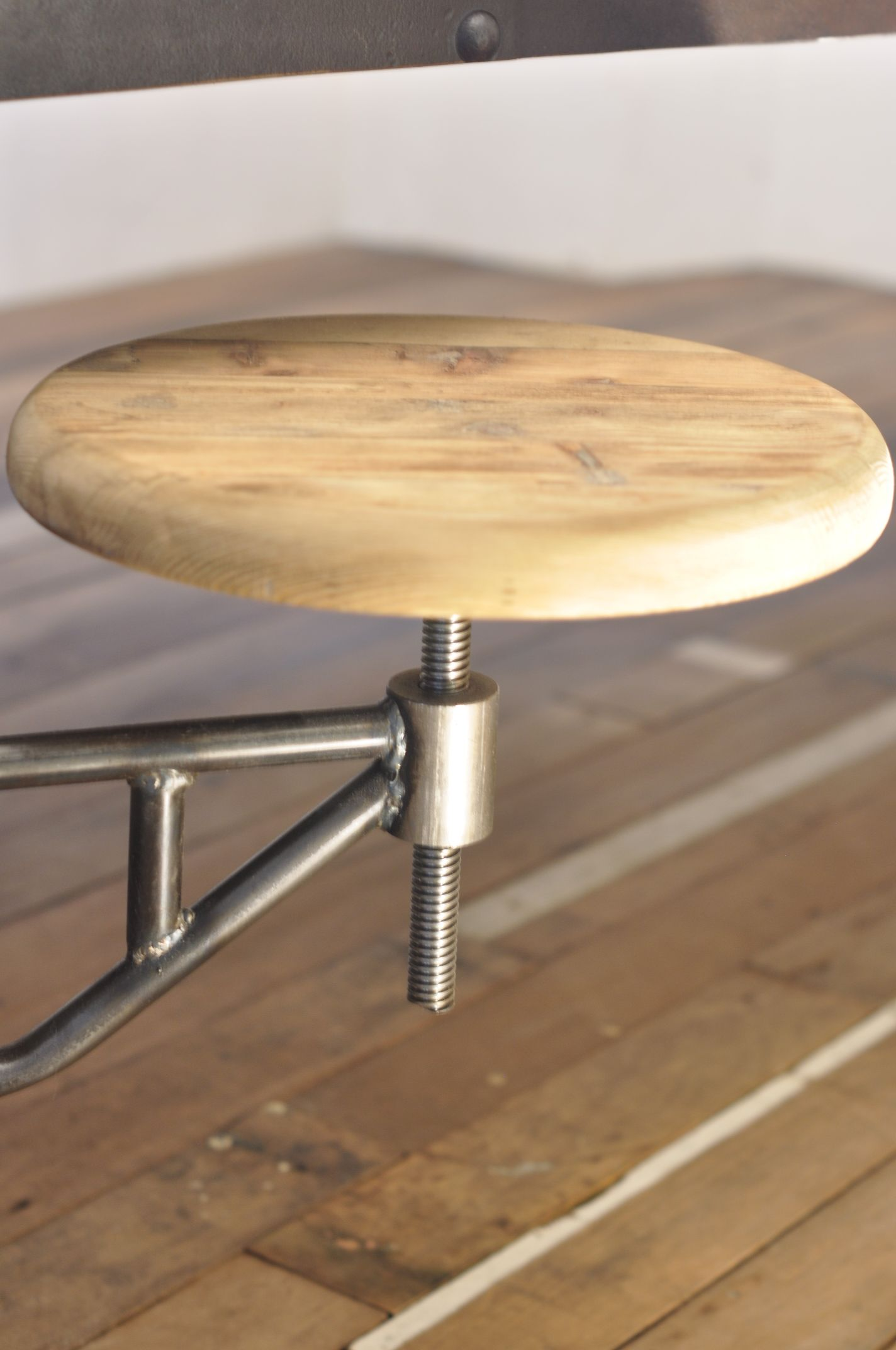 Big Handcrafted Industrial Table Made Of Old Water Tank. Patinated Metal  With Rivets. Old Oak Top And Legs. Restaurant Or Bar Table.