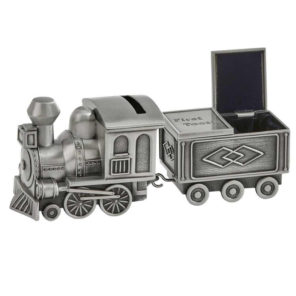 Personalized Train Bank Pewter Baby or Ringbearer Gift Includes Engraving