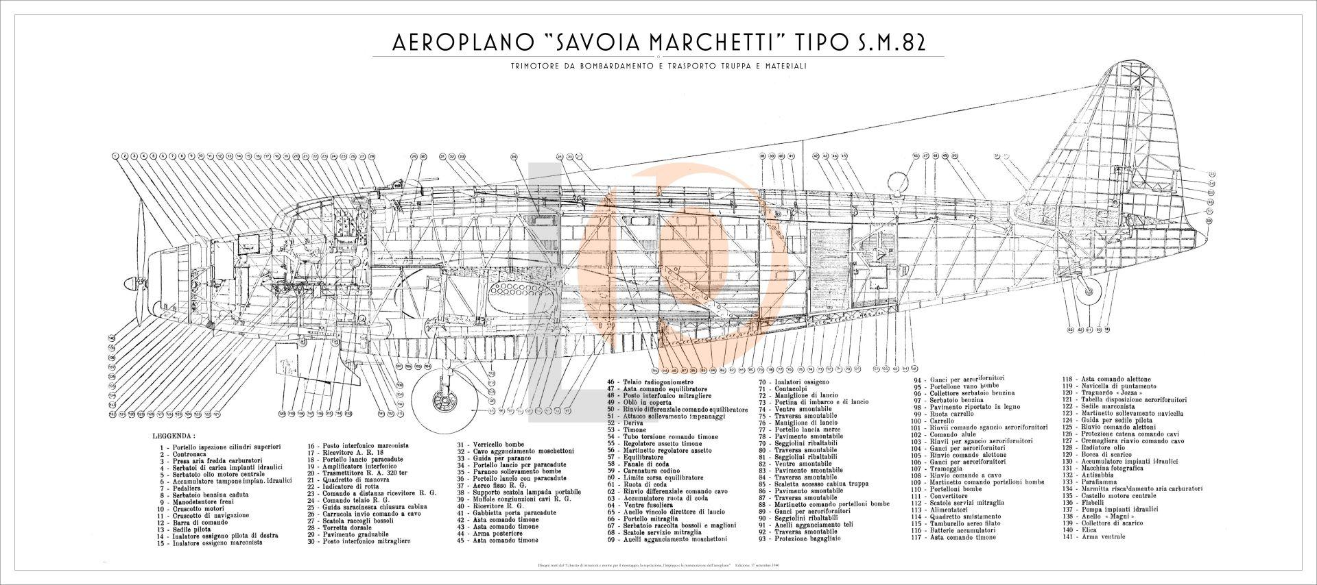Bombe 94 dedans aeroplano s.i.a.i. marchetti sm.82-cod. sm82-126x56 fianco | flying