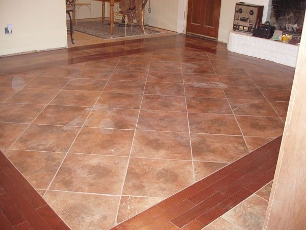 Tile Flooring With Wood Border Kitchen Remodel Someday