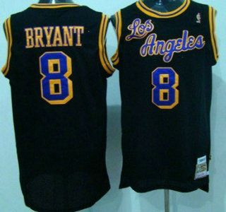 c08f9ee047d3 Los Angeles Lakers Jersey 8 Kobe Bryant 1996-97 Black Hardwood Classics Soul  Swingman Throwback Jerseys