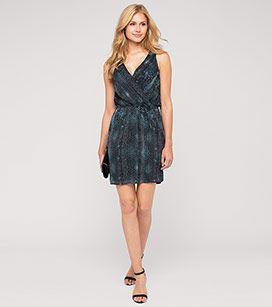 Gemustertes Kleid mit Glitzerfäden in der Farbe schwarz ...