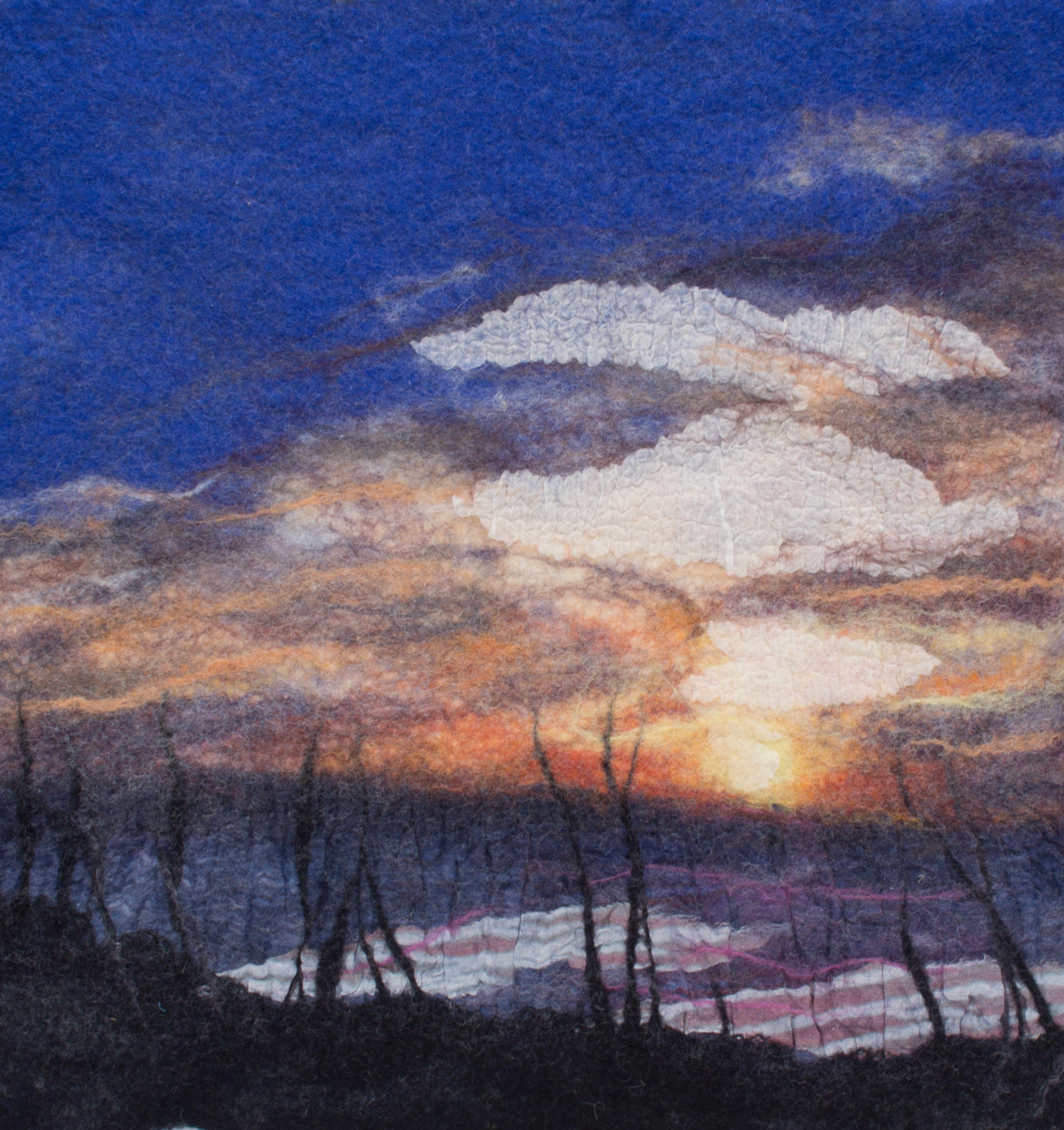 Sunset at Laudermilk Beach Park 12 X 12 Felt Painting