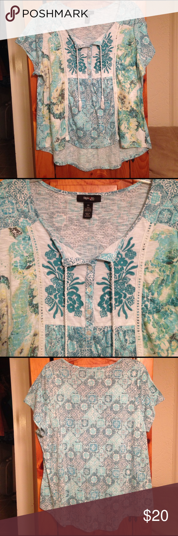 "STYLE & CO EMBROIDERED BLOUSE TOP Women's 2X SUPER CUTE excellent condition turquoise floral print embroidered blouse top by STYLE & COMPANY! Size women's plus 2X. Chest: 24"" across lying flat pit to pit. Length: in front 25"", in back 29"". Material: 70% polyester, 30% rayon. Style & Co Tops Blouses"