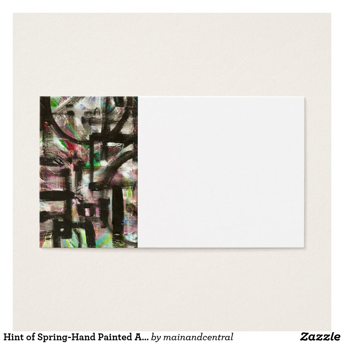 Hint of Spring-Hand Painted Abstract Brushstrokes Business Card ...
