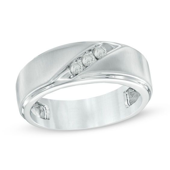 Men S 1 3 Ct T W Diamond Three Stone Slant Wedding Band In 10k