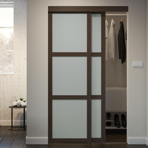 New Bedroom Closet Door After Reno Colonial Elegance Fusion 60 X 80 1 2 Mocha Framed 3 Lite Frosted Gl Glass Closet Modern Closet Doors Glass Closet Doors