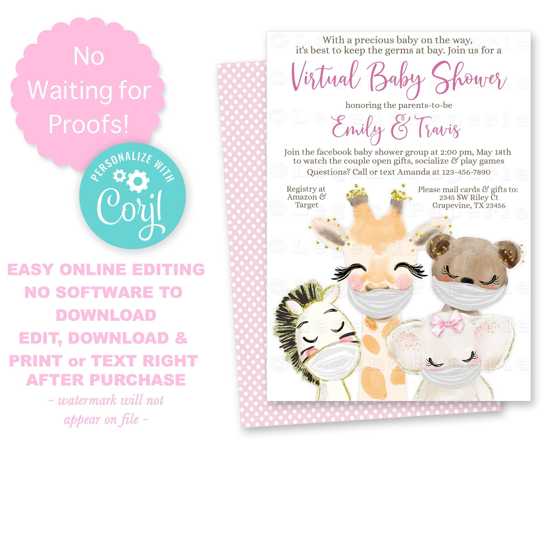 Virtual Baby Shower Invitationsfacebook Baby Shower Etsy In 2020 Virtual Baby Shower Invitation Girl Shower Invitation Virtual Baby Shower