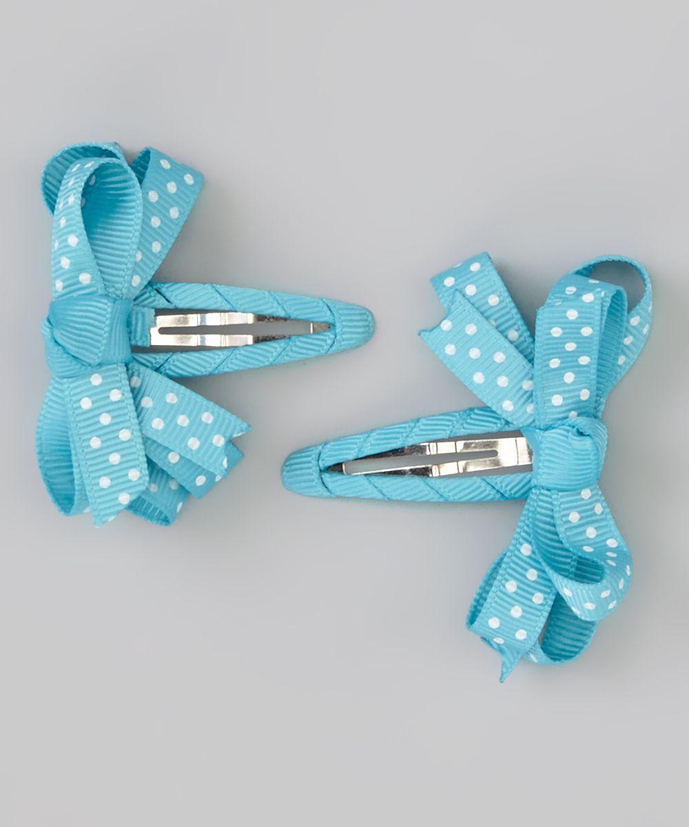 Bubbly Bows Aqua Polka Dot Snap Clip Set   zulily