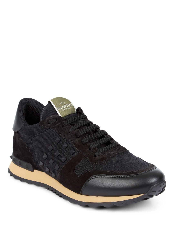 279129459d4e Valentino Valentino Garavani Rockstud Suede And Twill Sneakers Image ...