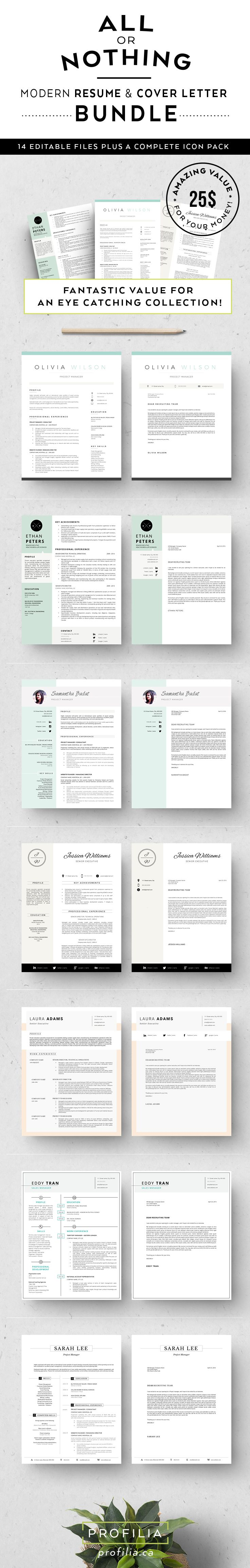 resume  u0026 cover letter template bundle from  profilia ca  resume  cv  resumetemplate