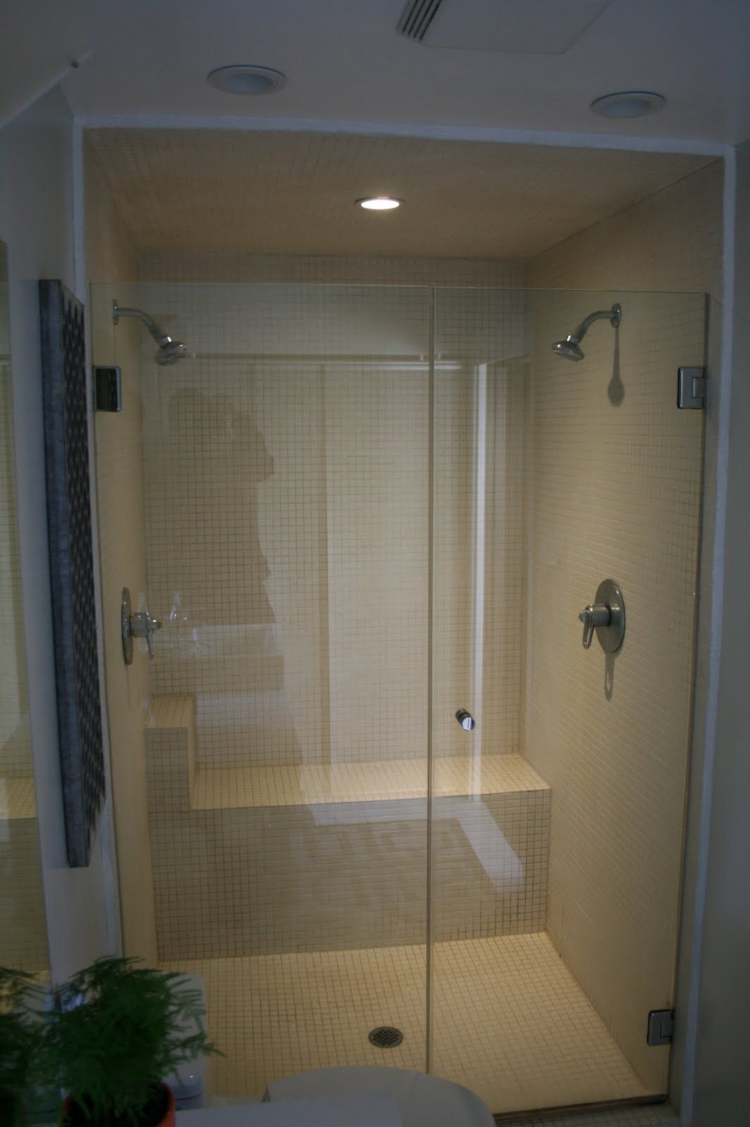 Shower Stall Idea  Seat/shelf At The Back Of The Shower, Not On One Side.