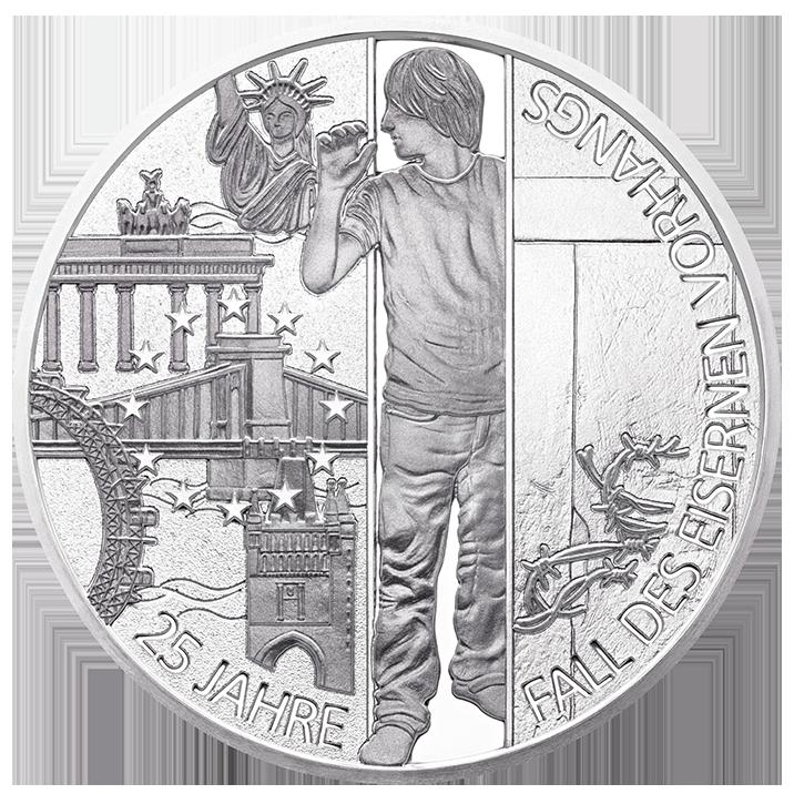 25 Jahre Mauerfall Als 20 Euro Muenze Aus Silber Zeigt Die