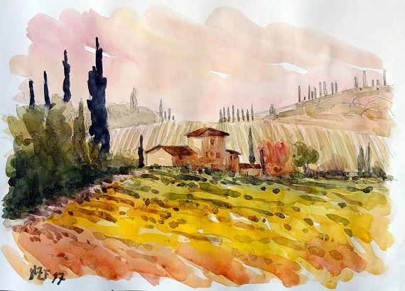 Tuscan landscape original watercolor home decor tuscany   MY ART ...
