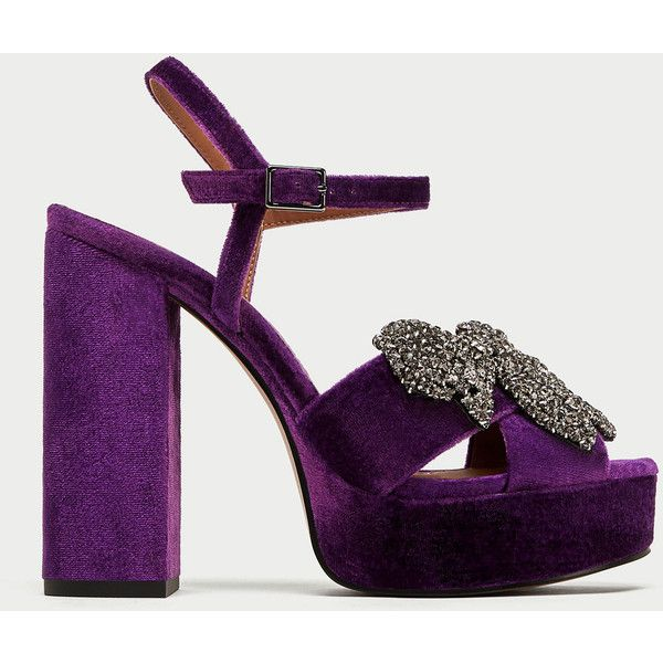 Velvet Platform Sandals With Bow Detail View All Shoes