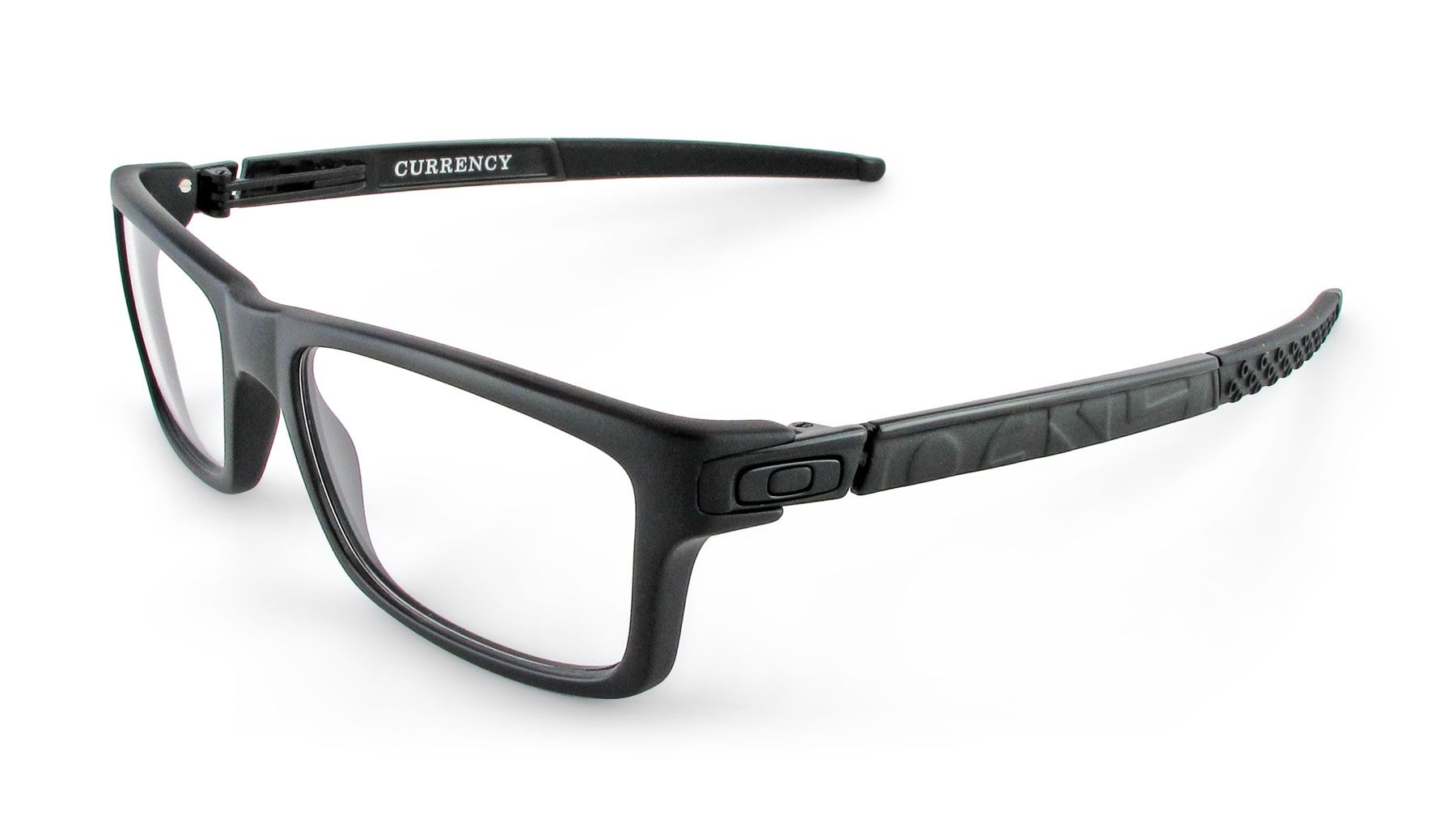 Oakley Currency Male Designer Prescription Glasses in Black