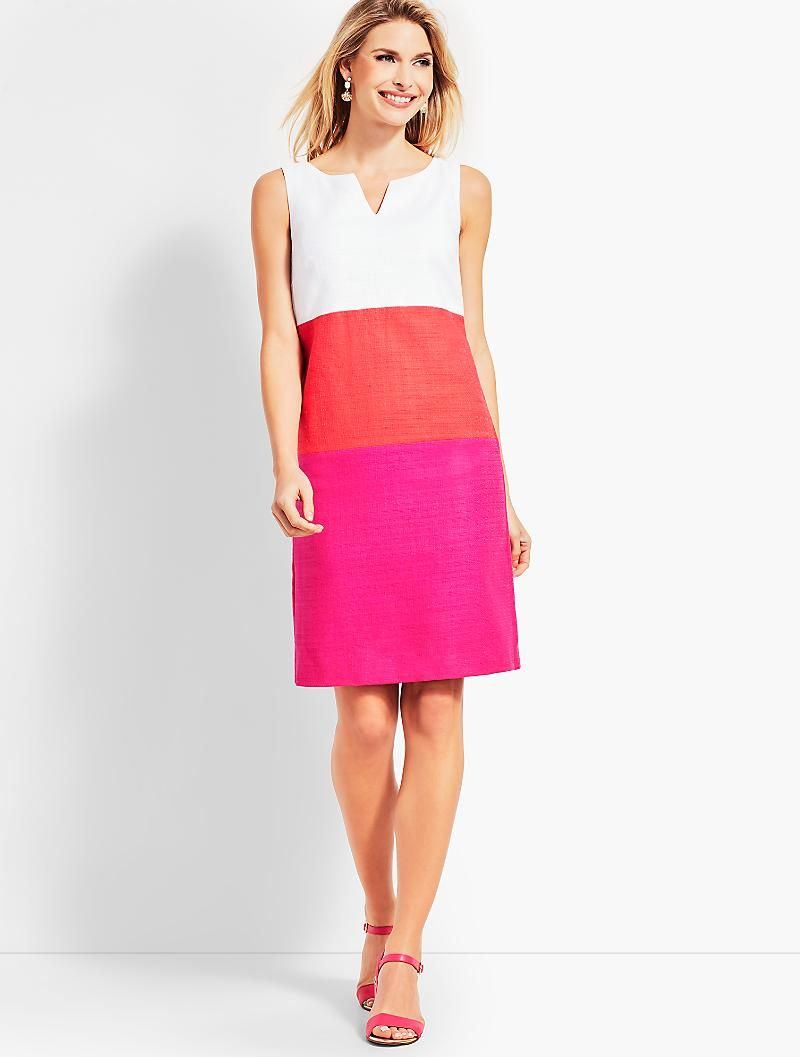 Textured Colorblock Sheath Dress Talbots Redbook A Basic Colorblock Design And Safari Inspired Texture Create A C Womens Dresses Cute Short Dresses Dresses [ 1057 x 800 Pixel ]