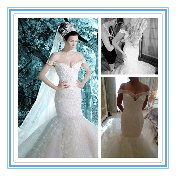 Off Shoulder Embroidery Pearls White Mermaid Wedding Dresses ...