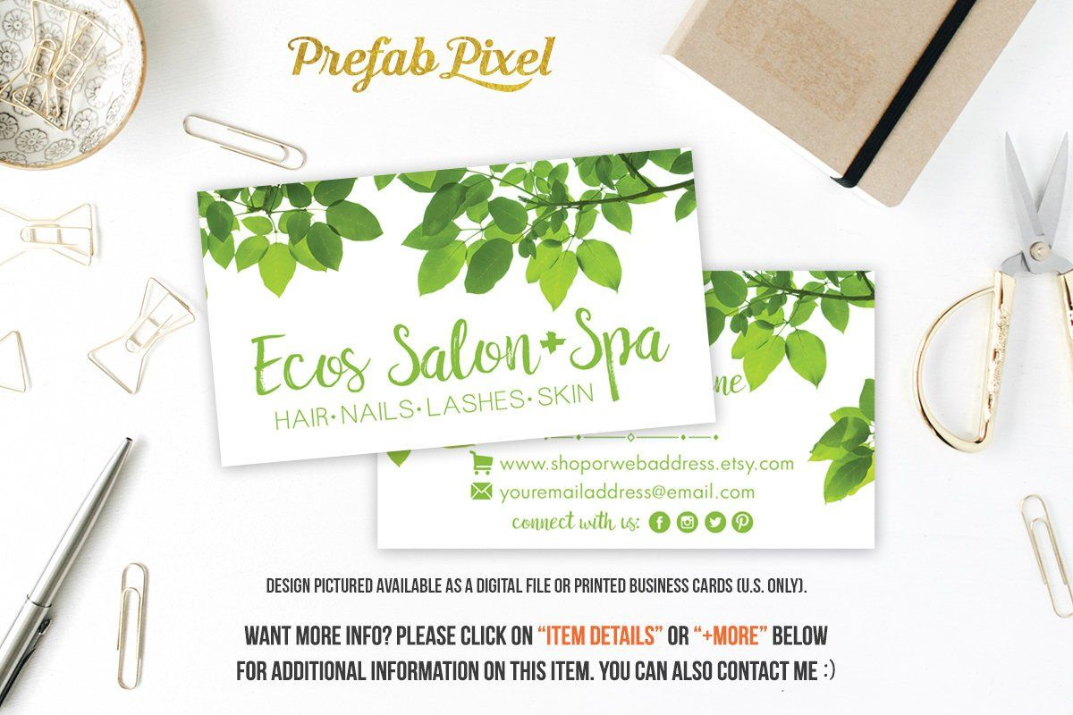 Printed green leaf business cards printing with glossy or matte printed green leaf business cards printing with glossy or matte finish for small handmade businesses etsy shops salons stylists eco friendly reheart Choice Image