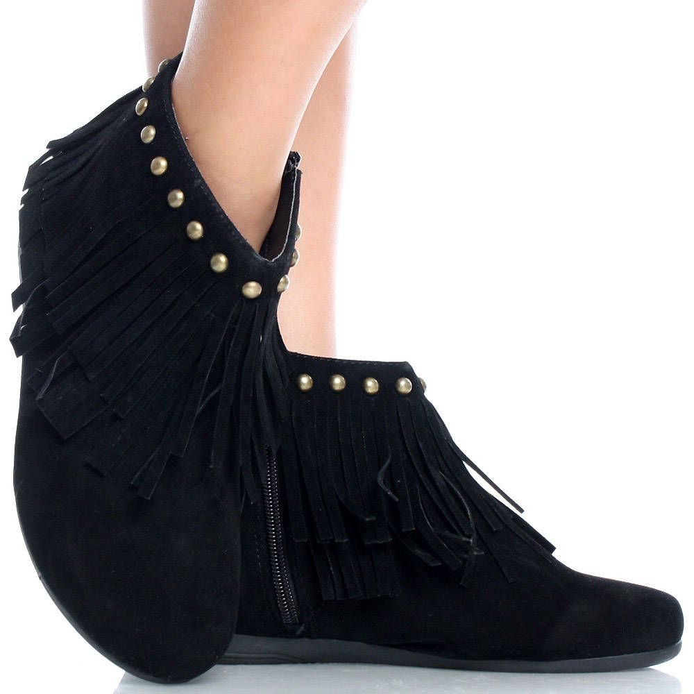 BlackSuede Studded Fringe Tribal Women Flat Ankle Boots Booties