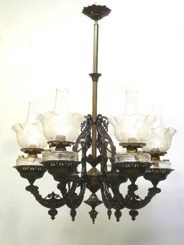 Lot: Circa 1870's Ornate Cast Iron Hanging Oil Chandelier, Lot Number:  0370, Starting Bid: $200, Auctioneer: Jay Anderson Antique Auction,  Auction: Jay ... - Circa 1870's Ornate Cast Iron Hanging Oil Chandelier On Oil Lamps