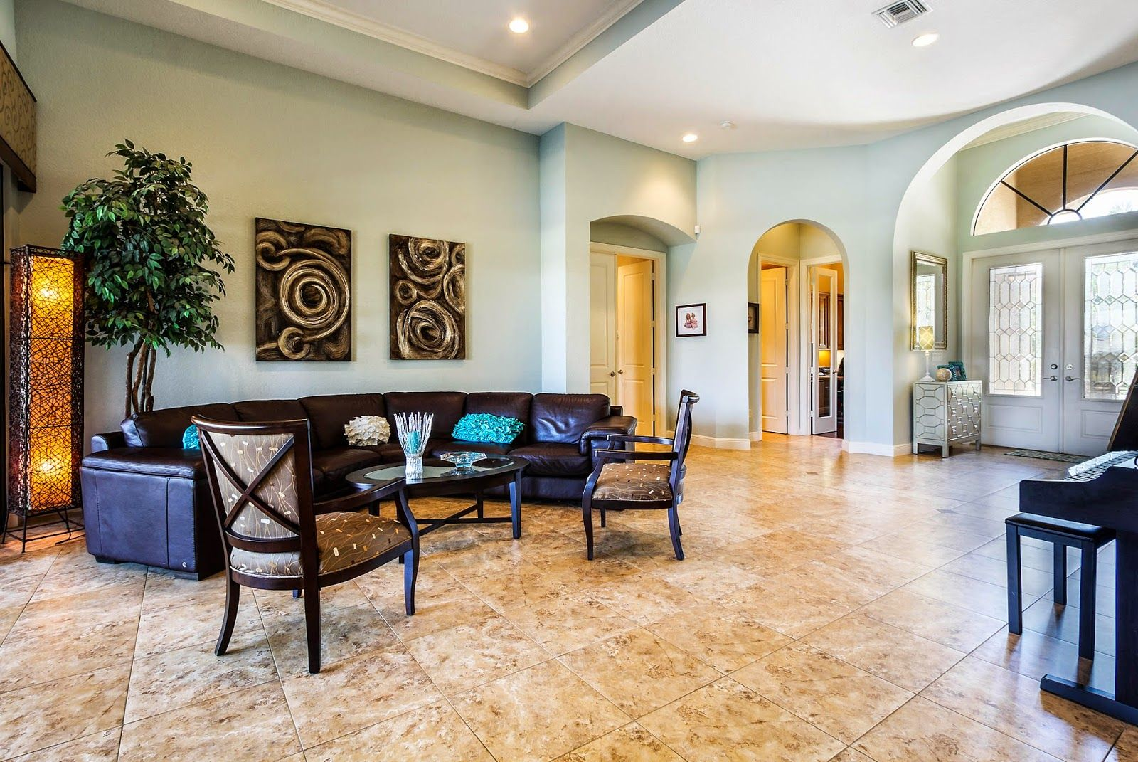 Transitional Living Room With Coastal Vibe And Blue: Light Blue Transitional Living Room And Foyer